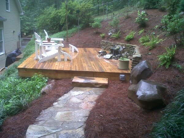 Deck Design & Bubbling Rock Water Feature