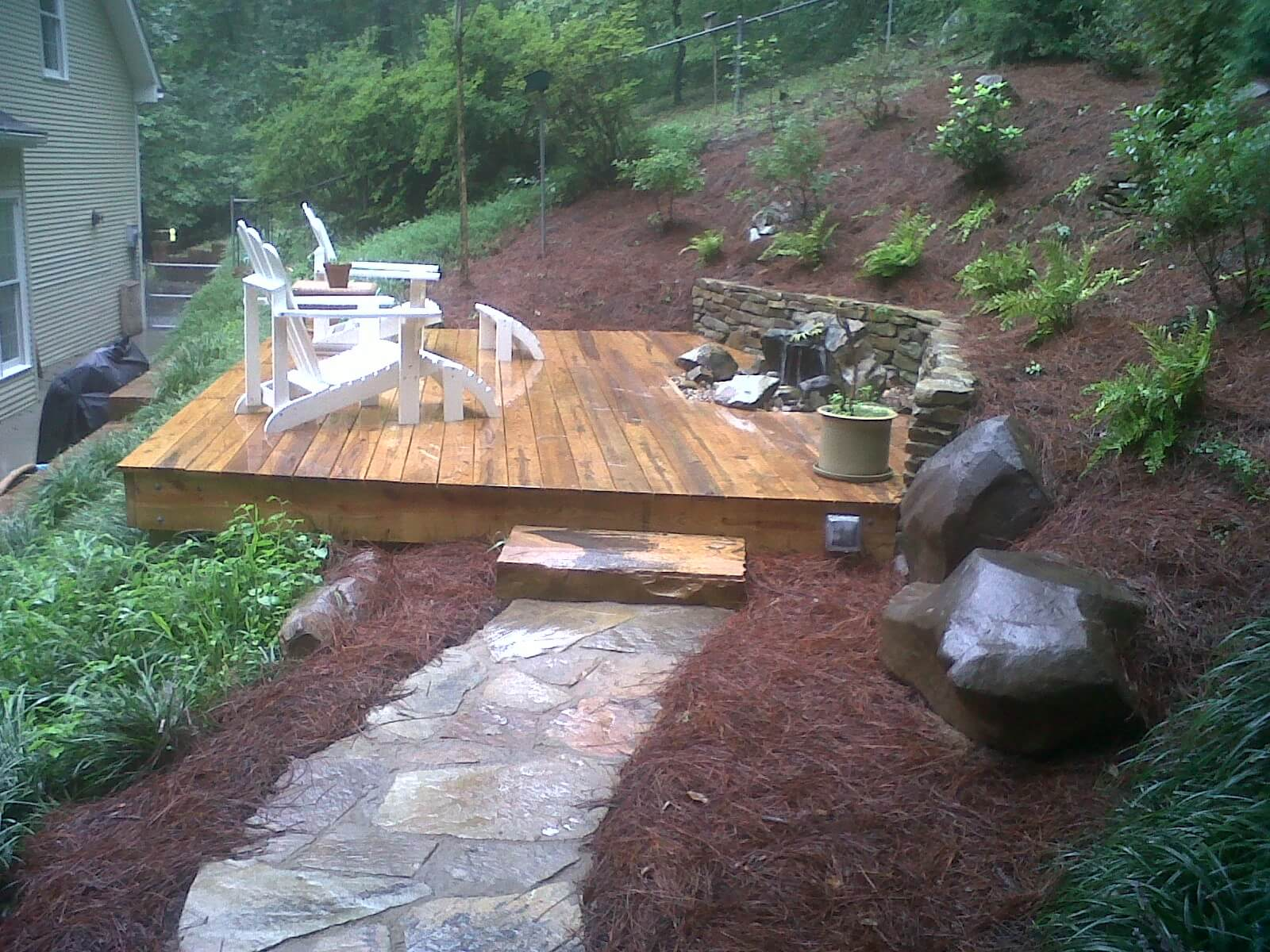 Deck Design Project with Bubbling Rock Water Feature in Oak Ridge, Tennessee