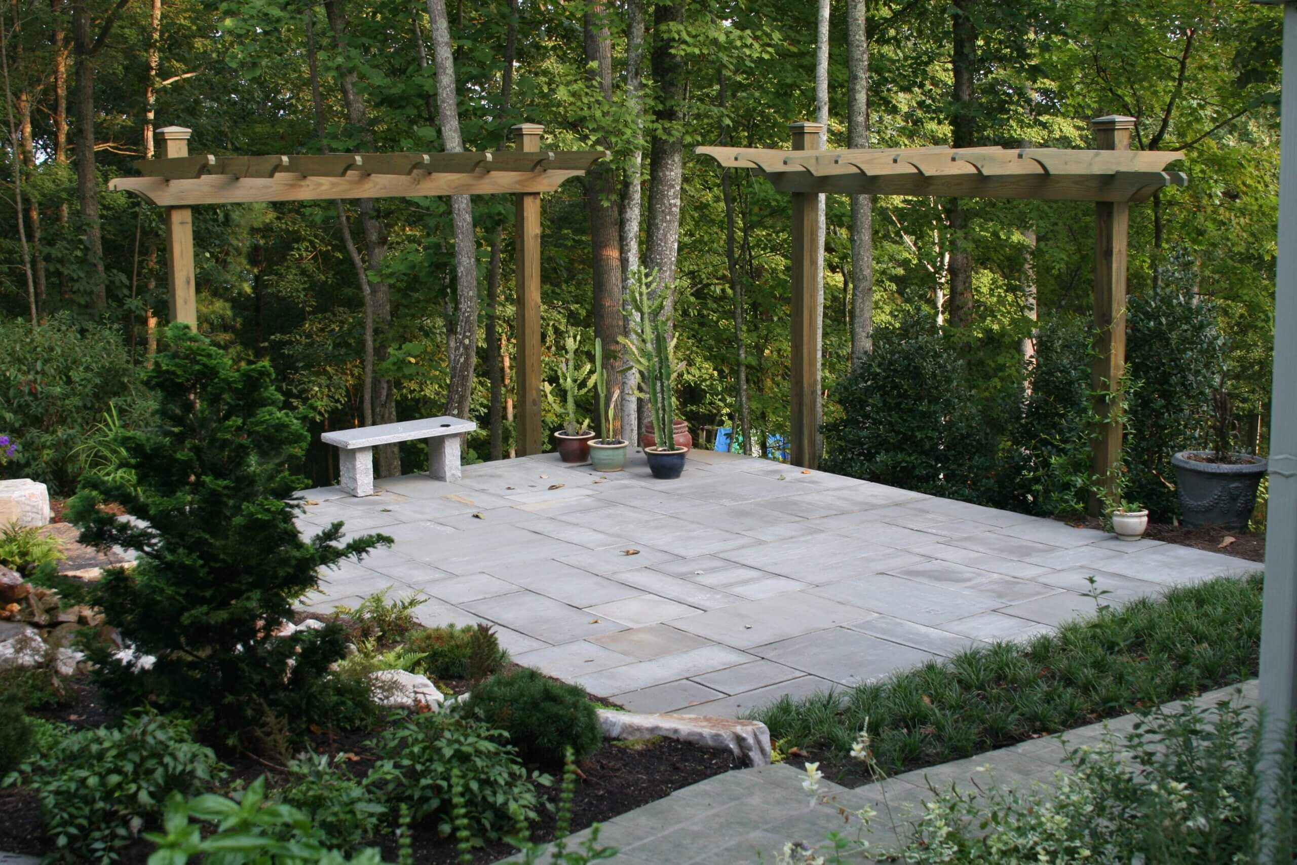 Natural Stone Patio & Cantiliever Arbors in Oak Ridge Tennessee